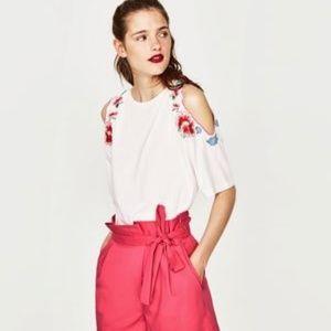 Zara short sleeved top with floral cold shoulder